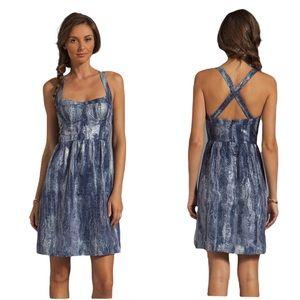 NWT Cynthia Rowley Designer Silk Crisscross Blue Watercolor Party Dress - 0